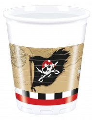 8 Plastikbecher - Schatzkarte Pirat