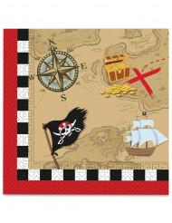 20 Papierservietten Piraten Schatzkarte