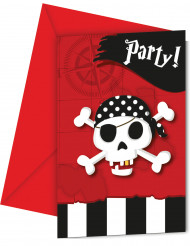 6 Einladungskarten mit Umschlag Piraten