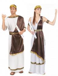 Braunes Römer-Paarkostüm für Erwachsene