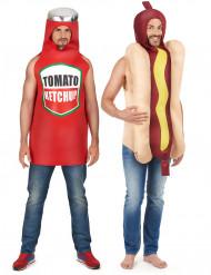 Hot-Dog und Ketchup Paarkostüm für Erwachsene