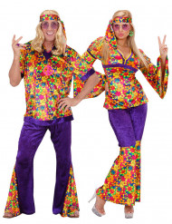 Hippie Paarkostüm für Erwachsene mit Blumen