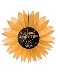 Papierdekoration zum Geburtstag mit Feuerwerkmotiv orange 50 cm