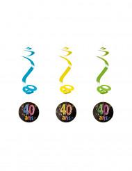 4 spiralförmige Girlanden zum 40. Geburtstag 60 cm