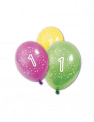 8 Luftballons zum ersten Geburtstag 25 cm