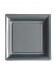 12 quadratische silbergraue Kunststoffteller