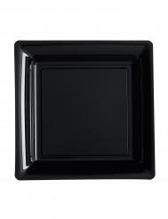 Kleine Partyteller Quadrat-Form schwarz 18 cm