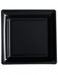 12 quadratische Teller schwarz 23,5 cm