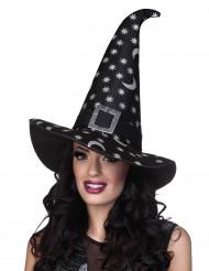 Halloween-Hexenhut mit silbernen Sternen für Damen