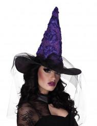 Hexenhut für Damen schwarz-lila