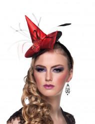 Mini Hexenhut rot für Damen Halloween