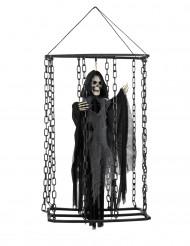 Halloween-Dekoration Sensenmann im Käfig zum Aufhängen, 50 cm