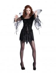 Schwarzer Engel mit Flügeln Halloween Kostüm für Damen