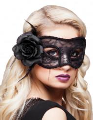 Spitzen-Maske mit Rose schwarz