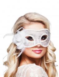 Augenmaske mit Spitze und Rose für Damen weiß