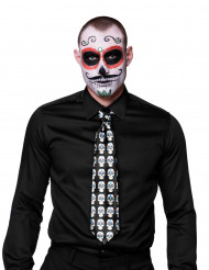 Tag der Toten Krawatte mit Totenköpfen für Erwachsene bunt