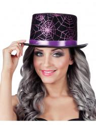 Zylinderhut mit violetten Spinnennetzen für Erwachsene