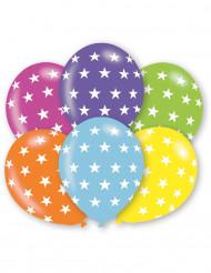 6 bunte Luftballons Sterne