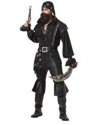 Piraten-Kostüm mit Kopftuch für Herren schwarz-weiss