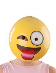Freche Smiley-Maske für Erwachsene gelb-rot-weiss