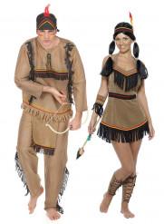 Erwachsenen Indianer-Paarkostüm bunt