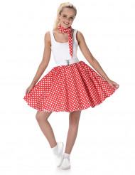 50er Jahre Kostüm für Damen rot-weiß gepunktet Rockabilly
