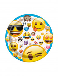 8 Pappteller Emoji™ 17,5 cm gelb-blau-weiß