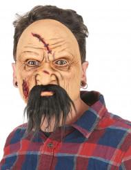 Latex-Maske verletzter Mann