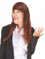 Humorvolle Latex-Maske Carla mit Perücke