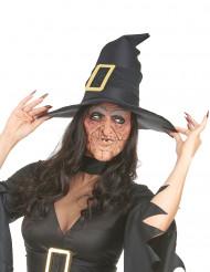 Latex-Maske 2-teilig faltige Hexe