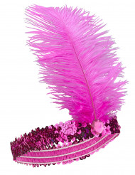 Charleston Pailletten Haarband mit Feder für Damen pink