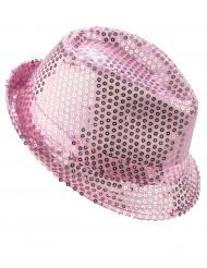 Borsalino Partyhut mit Pailletten rosa