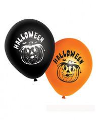 20 schwarze und orangefarbene Luftballons für Halloween