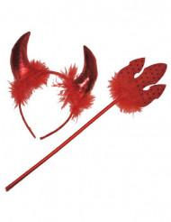 Accessoire Roter Teufel mit Federn für Erwachsene