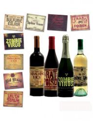 8 Flaschenaufkleber für Halloween