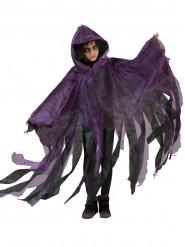 Schwarz/violetter Umhang mit Kapuze für Kinder Halloween