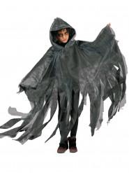 Schwarz/weißer Umhang mit Kapuze für Kinder Halloween
