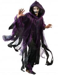 Schwarz/violetter Umhang mit Kapuze für Erwachsene Halloween