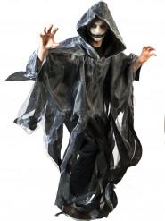 Schwarz/weißer Umhang mit Kapuze für Erwachsene Halloween