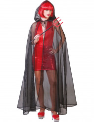 Schwarz/durchsichtiger Umhang für Erwachsene Halloween