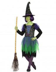 Grün-lilafarbenes Hexenkostüm für Mädchen