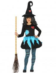 Blau-schwarzes Hexenkostüm für Mädchen