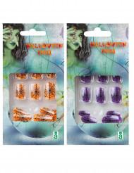 Fluoreszierende Kunstnägel mit Spinnen-Dekor für Halloween