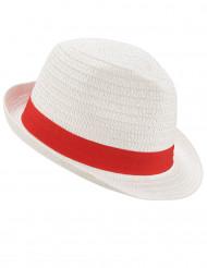 Weißer Borsalino-Hut mit rotem Band für Erwachsene