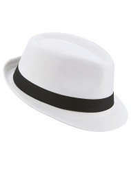 Weißer Borsalino-Hut mit schwarzem Band