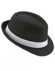 Borsalino-Hut für Erwachsene in Schwarz mit weißen Streifen