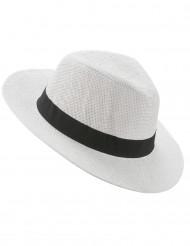 Weißer Panama-Hut mit schwarzem Band für Erwachsene