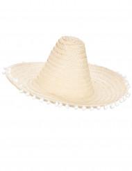 Sombrero mit Pompoms für Erwachsene beige