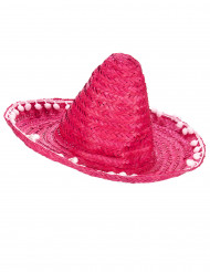 Pinker Sombrero mit Bommeln für Erwachsene