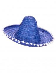 Blauer Sombrero mit Bommel für Erwachsene